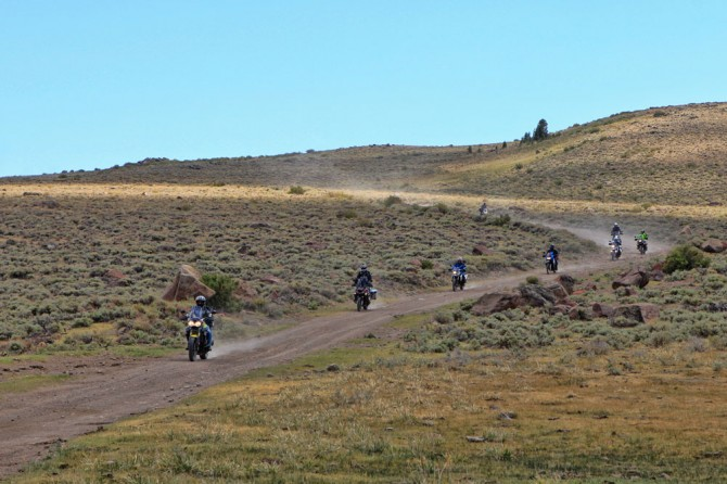 Backcountry dirt adventure motorcycling in western Nevada.