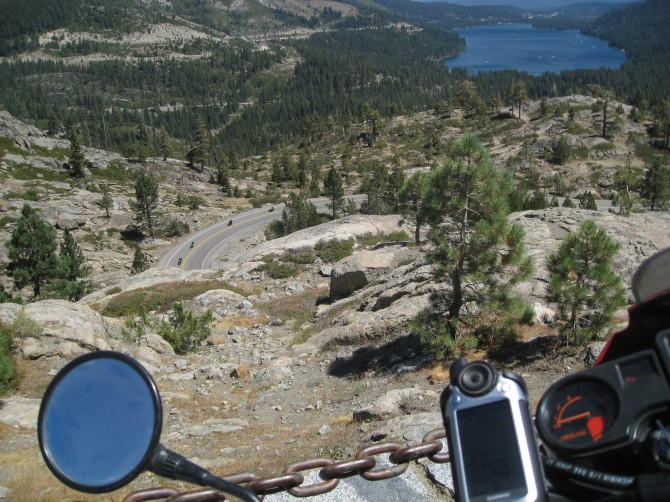 Motorcycle riders on old Donner Pass highway, above Donner Lake. One of the best motorcycle routes in the Sierra Nevada.