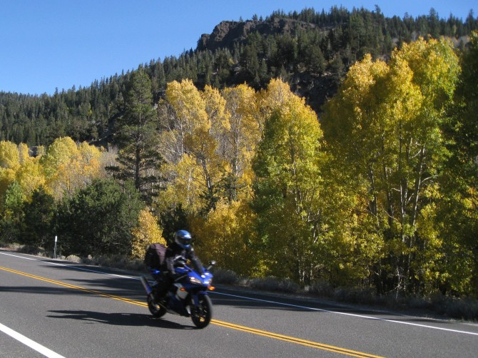 Fall colors motorcycling in Hope Valley, California